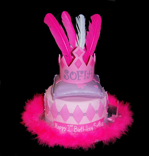 1st Birthday Princess Tiara on a pillow cake