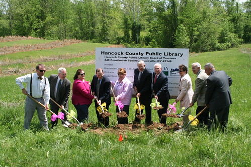 USDA Kentucky State Director Tom Fern (4th from right) joins state and local officials as ground was broken on the new Hancock County Library in Hawesville.