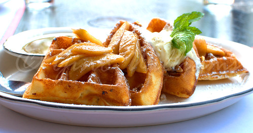 Malted Waffles with Apples and Pecans