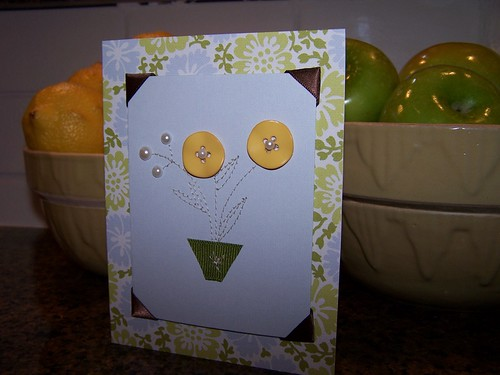 Girly-Girl Button Flower Card