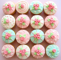 rose cupcakes (hello naomi) Tags: pink blue white cute green rose vintage cupcakes pretty sweet ribbon