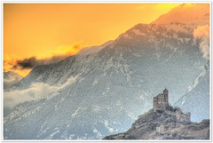Fairytale (christianmeichtry) Tags: winter sunset snow alps castle switzerland europe valeria schloss wallis burg valais valre mywinners anawesomeshot aplusphoto