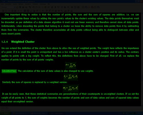 Screenshot of Lyx with green text on black background, Clutter Cloak does the rest