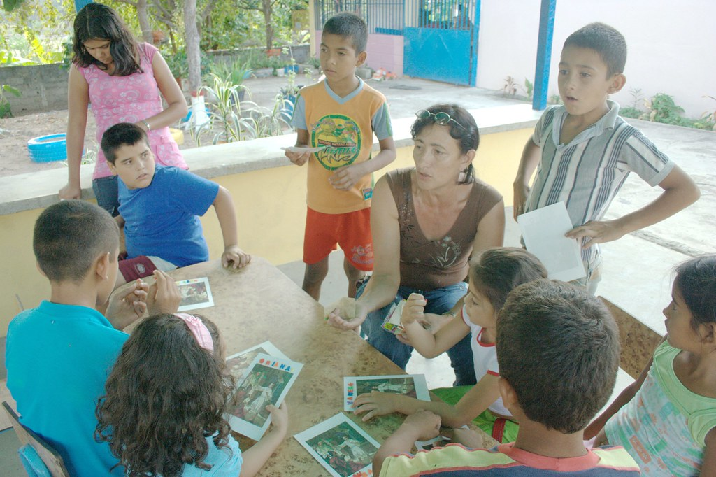 Luz Maria with the Sunday school kids
