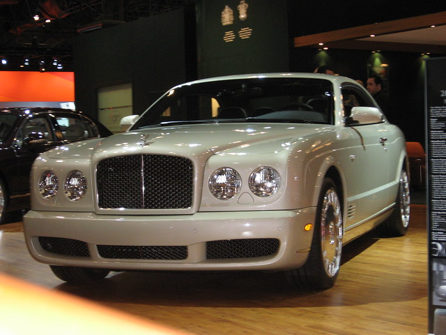 auto show new york white sports car front international exotic expensive left 2008 bentley brooklands