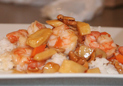 Takeaway King prawn with cashewnuts from China Palace restaurant, Leith, Edinburgh