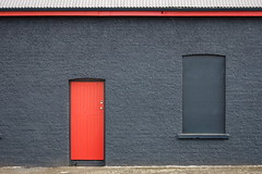 Redlining (A Different Perspective) Tags: door wood roof red window wall grey corrugated ispy paeroa adp:posted=2008 adp:submittedgi=090