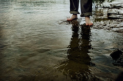 Flooded (.Bradi.) Tags: lake reflection wet water flood sister shore barefoot rolledjeans rememberthatcrazyweekiwastalkingabout thisisoneofthethingsthathelpedmakeitcrazy itsalittleweirdbutiactuallyreallyenjoyedthatweekallthesame