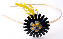 Black and Yellow Vintage Flowers Headband