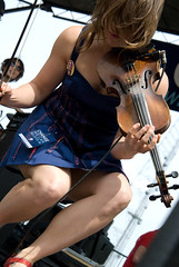 Sarah Neufeld (pgpanic) Tags: show friends musician music concert rally livemusic northcarolina greensboro bands indierock arcadefire vote superchunk backstagepass outdoorshow 2008election sarahneufeld