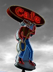 cowboy in color (circle.c) Tags: sign austin cafe cowboy neon texas nuttybrown