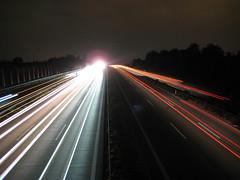 da ging wohl jemand ein Licht auf am Horizont (frederickgriesbach) Tags: auto red catchycolors autobahn verkehr lichter nachtaufnahme a81 lastwagen langzeitbelichtung strase betterthangood