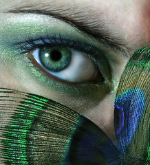 Cock-eyed (Sarah Ann Wright) Tags: blue shadow macro green eye sarah eyes shine purple feather makeup peacock greeneyes peek bec eyeshadow peer shimmer myeye greeneyeshadow peacockfeather sarahseye mywinners anawesomeshot schloo femaleselfportrait