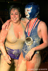 (gretchen robinette) Tags: sanfrancisco california music art beer photography women floor mud wrestling events flash loser bad cleanup noflash alcohol winner chicks dudes mudwrestling sparks 2008 tough slippery rollerskaters dirtybathroom bayareaderbygirls bayareaderby gretchenrobinette wwwgretchenrobinettecom