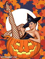 Trick or Treat (scottblairart) Tags: orange sexy halloween pumpkin artwork witch wrestling retro blair latina pinup leggy