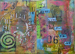Live with no Time out (Frieda Oxenham) Tags: art artjournal stencilgirl stencilling collage vintageimages tissuewrap simone de beauvoir rubberstamping time clocks