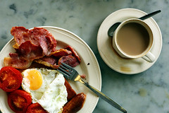fry-up (chrisglass) Tags: uk coffee breakfast bacon tomatoes sausage eggs