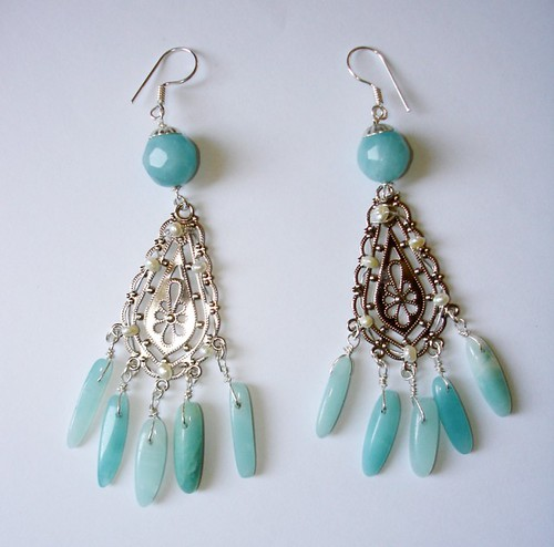 LOVELY SPRING BUNCH CHANDELIER EARRINGS with amazonite, green jade stones and white pearls in sterling silver