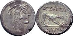 472/1 #0722-40 L.PAPIVS CELSVS III VIR Juno Sospita Wolf fire eagle Denarius