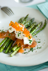 fresh savory (mwhammer) Tags: blue stilllife food orange white fish color texture nova ceramic display object salmon wrapped vegetable fresh explore asparagus plates cloth roe lox seared sauteed sprinkled propstyling foodstyling melinahammer tabletopstyling strainedyoghurt