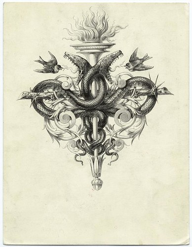 Torch and a thorny branch forming a cross with snakes and birds From Les saints evangiles.  (Paris - Hachette, 1873.) Bida, Alexandre (nypl) / Paul K
