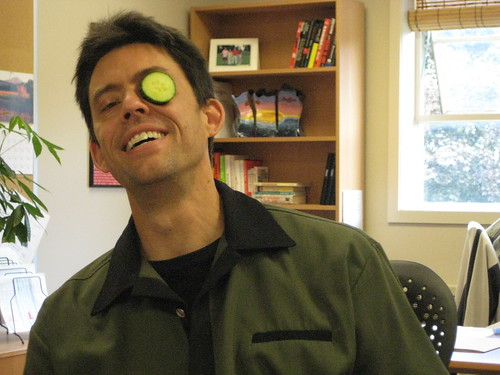 Darren with cucumber on his eye by Carolyn Coles, on Flickr