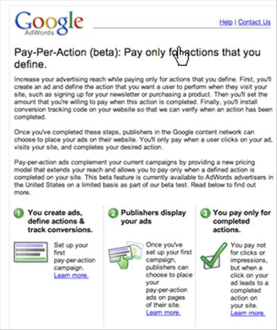 google pay per acquisition model