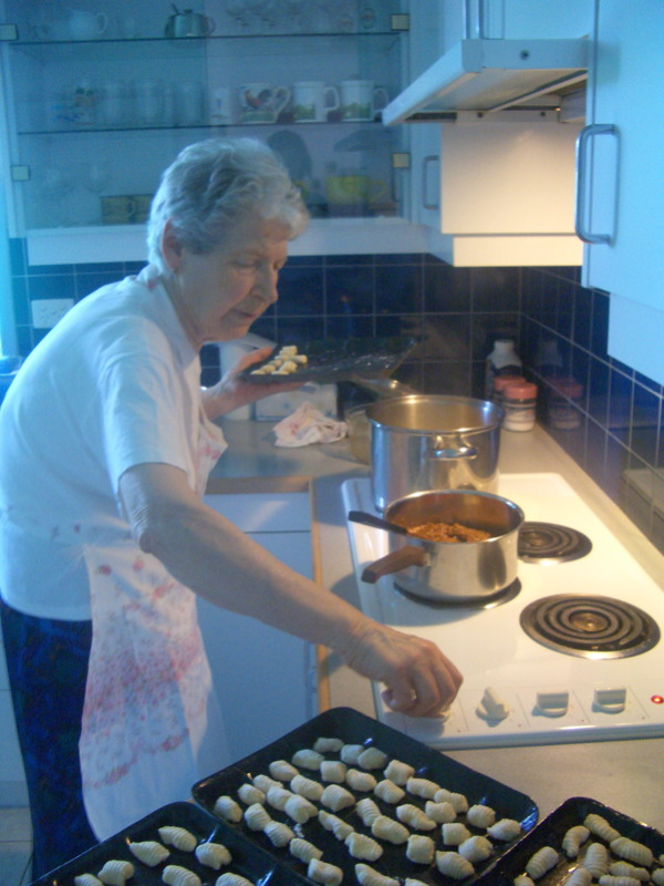Nonna cooking the gnocchi