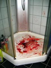 I,... (Jon Reksten) Tags: red white black halloween oslo bathroom shower blood missing kill arm cut finger off shampoo tiles bone smear sawed