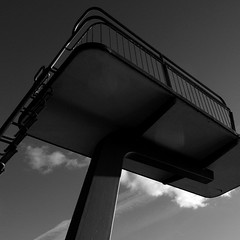 Bad Tiefenbrunnen (So gesehen.) Tags: winter shadow sky bw sun lake tower water clouds square schweiz switzerland see zurich bad cropped railing grdigital tiefenbrunnen springturm