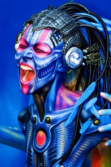 Erika (florianziegler) Tags: blue color sterreich face austria colorful gesicht expression alien krnten scream bodypainting blau farbe bunt 2007 schrei blueribbonwinner ausdruck seeboden worldbodypaintingfestival seeboden2007