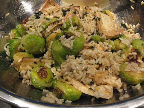brussel sprouts, tofu and rice