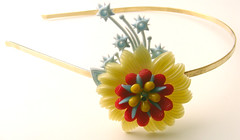 Yellow, Red and Blue Vintage Flowers Headband
