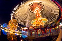 Paradise Pier at Disney's California Adventure (Eric Wolfe) Tags: california usa reflection landscape lights unitedstates disneyland swings glowing rides anaheim californiaadventure nightscapes amusementparks paradisepier original:filename=200412310882jpg