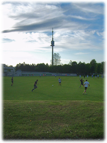 Playing soccer near the Donauturm