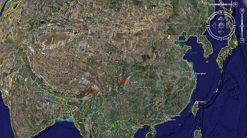 carte google earth seisme chine