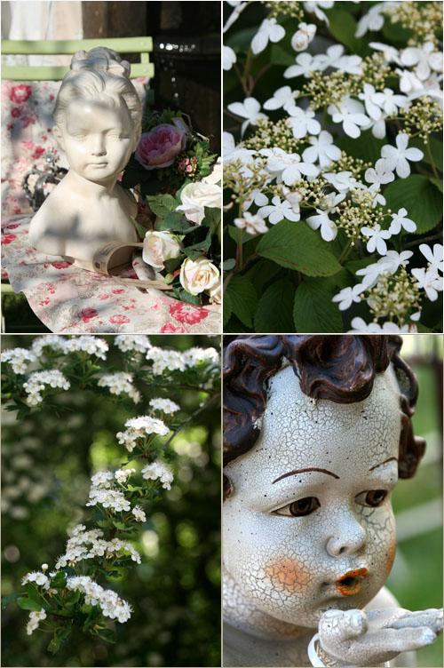 Statue e fiori bianchi