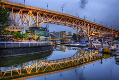 Granville Street Bridge, Vancouver (Thad Roan - Bridgepix) Tags: bridge winter canada reflection water vancouver marina boats bc britishcolumbia steel bridges falsecreek wikipedia granvilleisland olympics granvillestbridge span hdr bridging granvillestreetbridge 200707 photomatix bridgepixing bridgepix