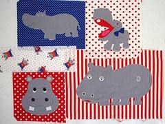 four hippo appliqués