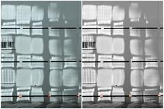Chessboard of light (michelle@c) Tags: urban suburban abstraction diptych geometry grid white celadon light shadow reflection parking boulognebillancourt 2017 paris bw color michellecourteau