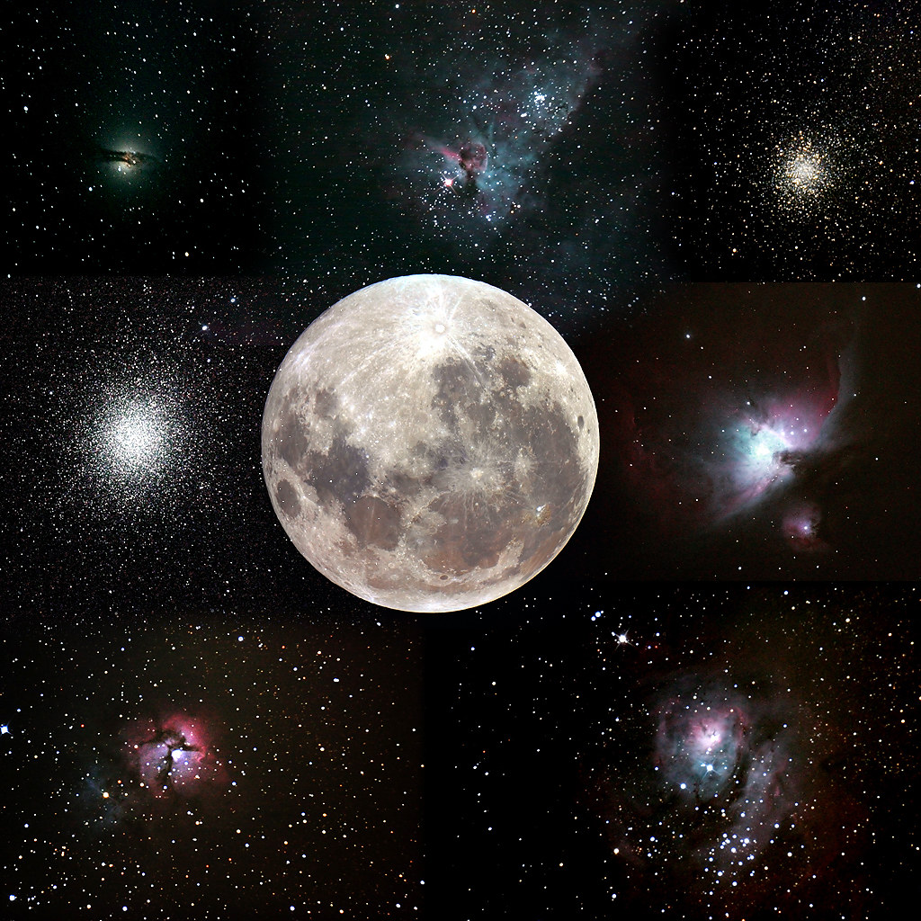 The Moon compared to some Deep Sky Objects