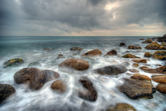Church Ope rocks - Long Exp HDR (petervanallen) Tags: longexposure sea beach water clouds photoshop portland grey coast nikon rocks waves tide wideangle dorset coastline hdr photomatix sigma1020 neutraldensity nd4 d80 3exp