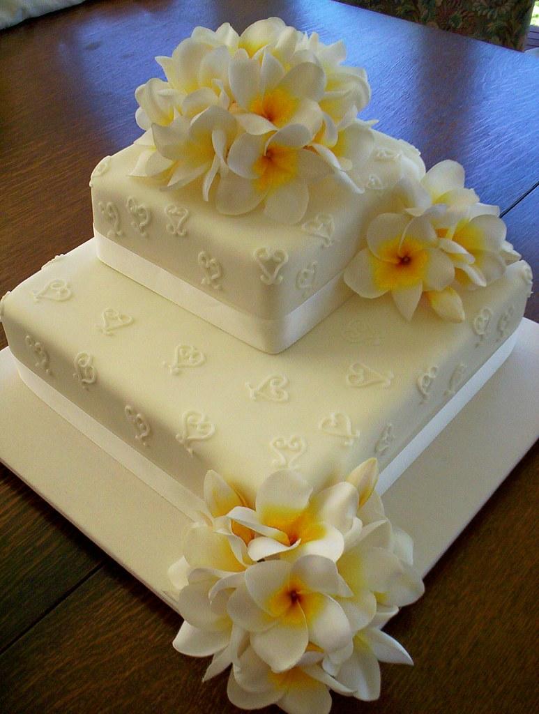Silk Flower Frangipani Wedding Cake