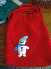 Red snowman tote