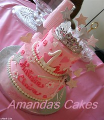 Natalie Claire's 1st Birthday Cake (mandotts) Tags: birthday pink flowers white tiara hearts stars princess 1st wand blossoms pearls babygirl sliver swirls fondant buttercream gumpaste babycake sugarpaste girlcake