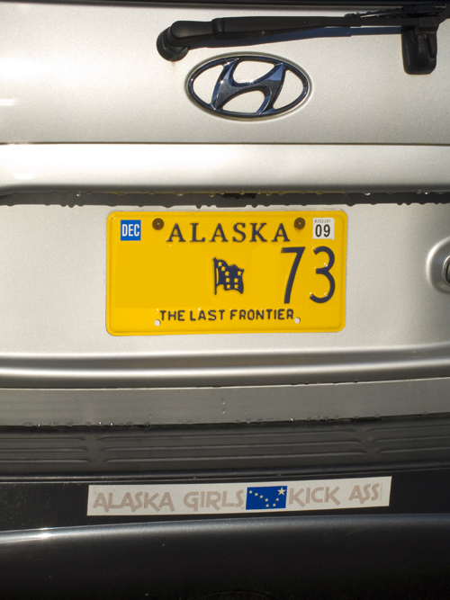 bumper sticker, Alaska Girls Kick Ass