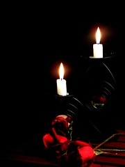 Twin Flames (EXPLORED) (~Haani~) Tags: life light red roses love dark mirror candles flame twinflames haani candlestands thatsclassy