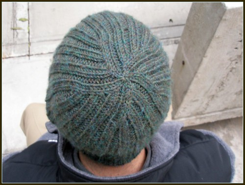 Ribbed hat- top view