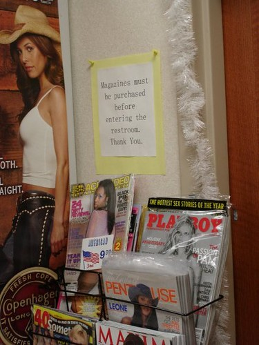 Magazines must be purchased before entering the restroom. Thank You