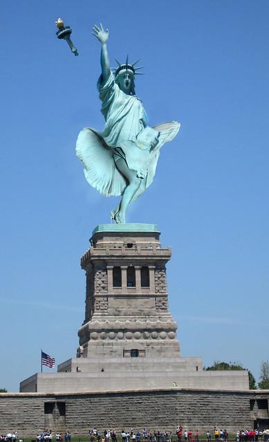 Upskirt Statue of Liberty, PhotoShop manipulation of a monumental statue